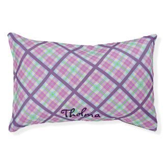 Pink and Purple Plaid Small Dog Bed