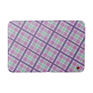 Pink and Purple Plaid with a Lady Bug Bathroom Mat