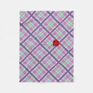 Pink and Purple Plaid with Lady Bug Fleece Blanket