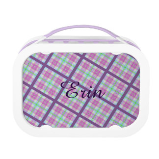 Pink and Purple Plaid with Lady Bug Lunch Box
