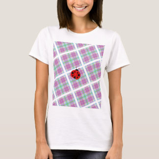 Pink and Purple Plaid with Lady Bug T-Shirt