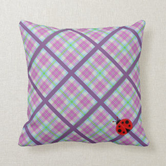 Pink and Purple Plaid with Lady Bug Throw Pillow