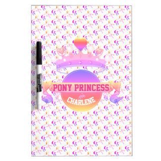 Pink and Purple Pony Princess Dry Erase Board