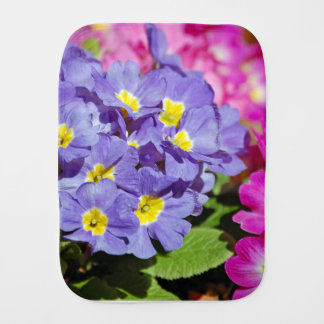 Pink and purple primroses burp cloth