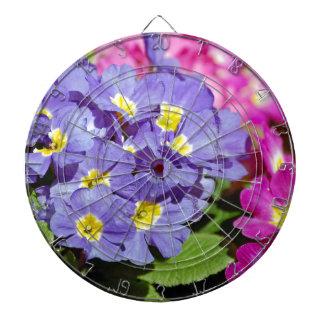 Pink and purple primroses dartboard