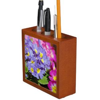Pink and purple primroses desk organizer