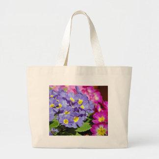 Pink and purple primroses large tote bag