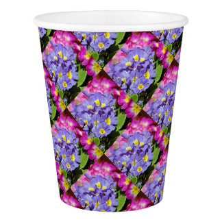 Pink and purple primroses paper cup