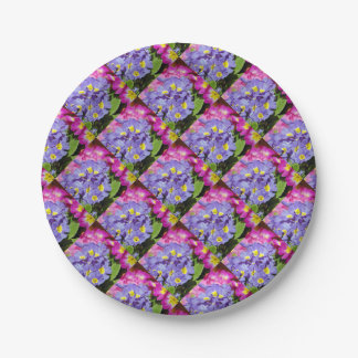 Pink and purple primroses paper plate