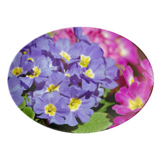 Pink and purple primroses porcelain serving platter