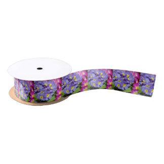 Pink and purple primroses satin ribbon