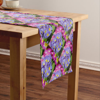 Pink and purple primroses short table runner
