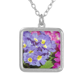 Pink and purple primroses silver plated necklace