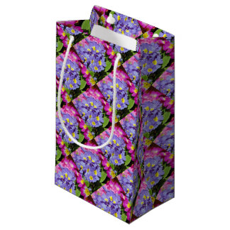 Pink and purple primroses small gift bag