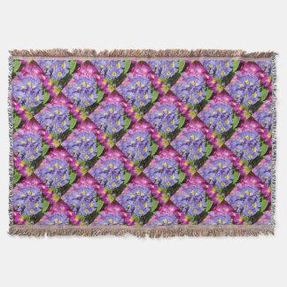 Pink and purple primroses throw blanket