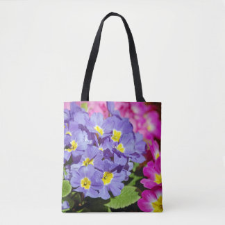 Pink and purple primroses tote bag