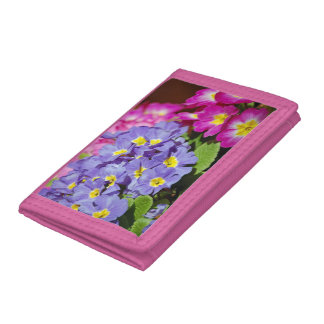 Pink and purple primroses tri-fold wallet