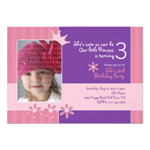 Pink and Purple Princess Invitation Photocard