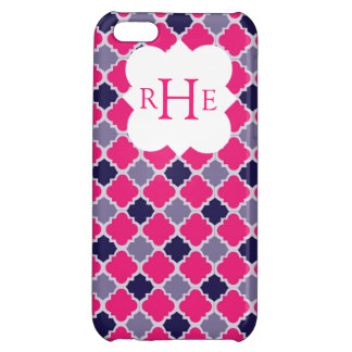 Pink and Purple Quatrefoil with Custom Monogram iPhone 5C Cover