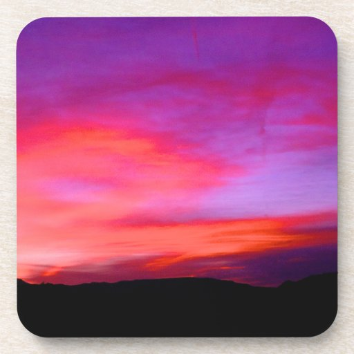 pink and purple sky beverage coaster