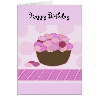 Pink and Purple Smartie Cupcake Greeting Card