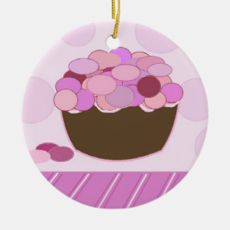 Pink and Purple Smartie Cupcake Round Ceramic Ornament