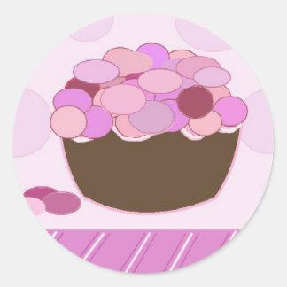 Pink and Purple Smartie Cupcake Round Sticker