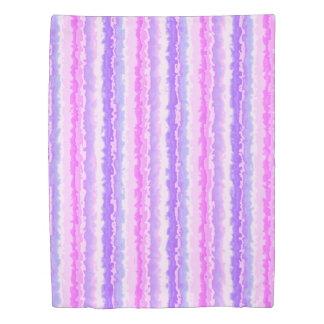 Pink and Purple Spattered Fractal Stripes Duvet Cover