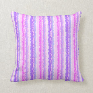 Pink and Purple Spattered Fractal Stripes Throw Pillow