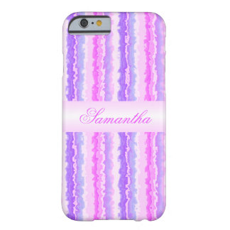 Pink and Purple Spattered Stripes Monogram Barely There iPhone 6 Case