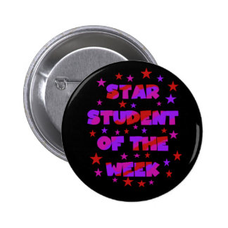 Pink and Purple Star Student of Week 2 Inch Round Button