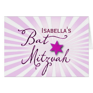 Pink and purple starburst Bat Mitzvah Card