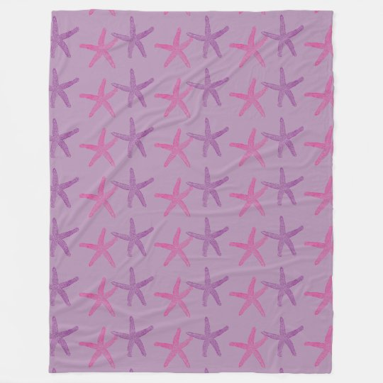 Pink and Purple Starfish Lilac Fleece Blanket