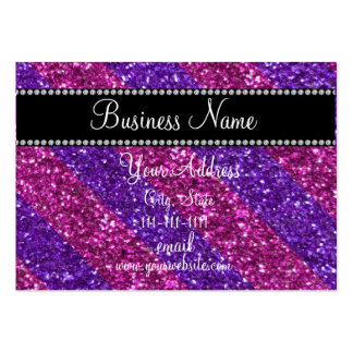 Pink and purple stripes glitter bling business card