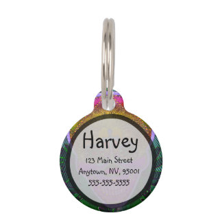 Pink and Purple Sugar Skull with Cross and Flowers Pet Nametag