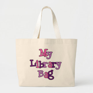 Pink and Purple Text Library Bag Tote Bag