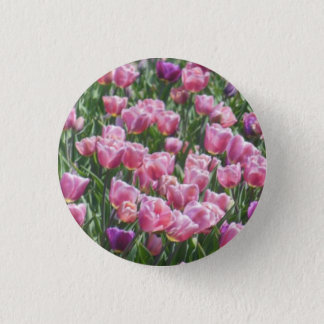 Pink and Purple Tulip Garden 1 Inch Round Button