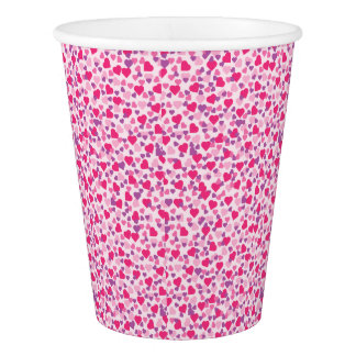 Pink and Purple Valentine Hearts Paper Cup