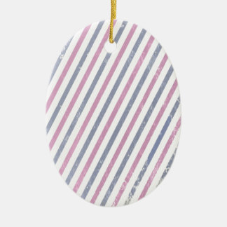Pink and Purple Vintage Stripe Ceramic Oval Ornament