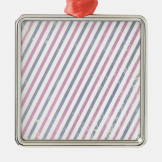 Pink and Purple Vintage Stripe Silver-Colored Square Ornament