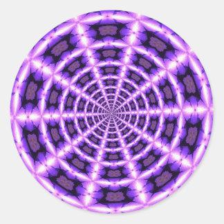 Pink and purple vortex classic round sticker