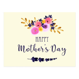 Pink And Purple Watercolor Floral Mothers Day Postcard