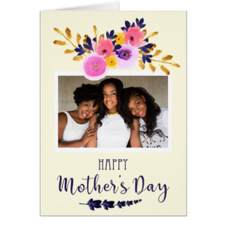Pink And Purple Watercolor Photo Mothers Day Card