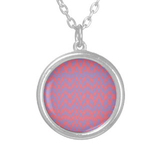 Pink and purple wavey pattern silver plated necklace