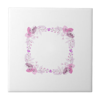 Pink and Purple Wreath of Flowers Tile