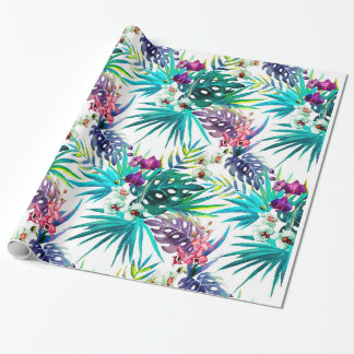Pink and PurpleTropical Orchids Wrapping Paper