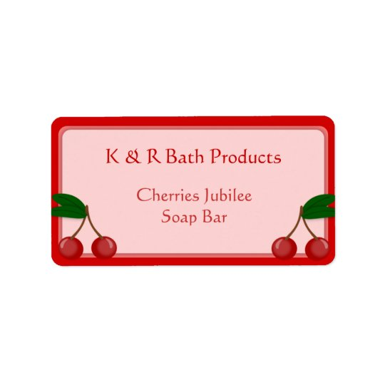 Pink and Red Cherry Soap Label Sticker