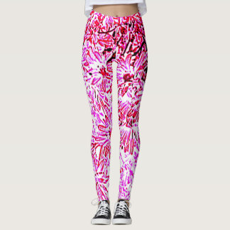 PINK AND RED DAISIES ON WHITE GROUND LEGGINGS