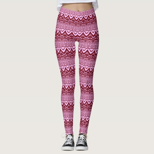 Pink and Red Decorative Patterned Leggings