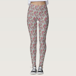 Pink and red Floral Leggings
